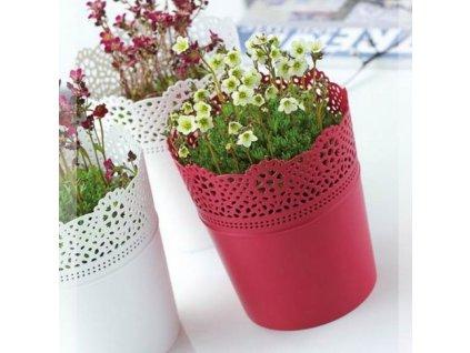 SEMPRO květináč Lace, DLAC 140 výška 15,5cm červená malina
