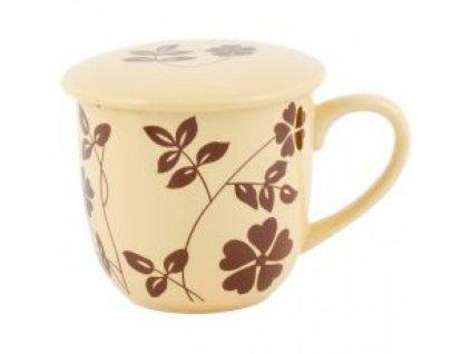 SEMPRO Hrneček na sypaný čaj se sítkem, hnědý s kvítkem