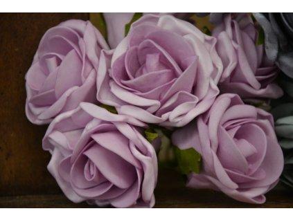 CERINO Umělá květina Růžičky svatební pěnové 6ks 25cm růžová