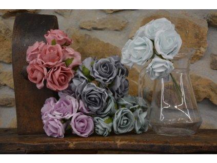 CERINO Umělá květina Růžičky svatební pěnové 6ks 25cm old růžová