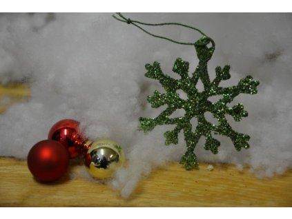 CERINO Ozdoba vánoční vločka 6,5cm zelená