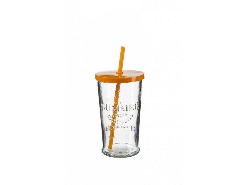 SUMMER FUN II sklenice 50 cl, oranžové  víčko a br