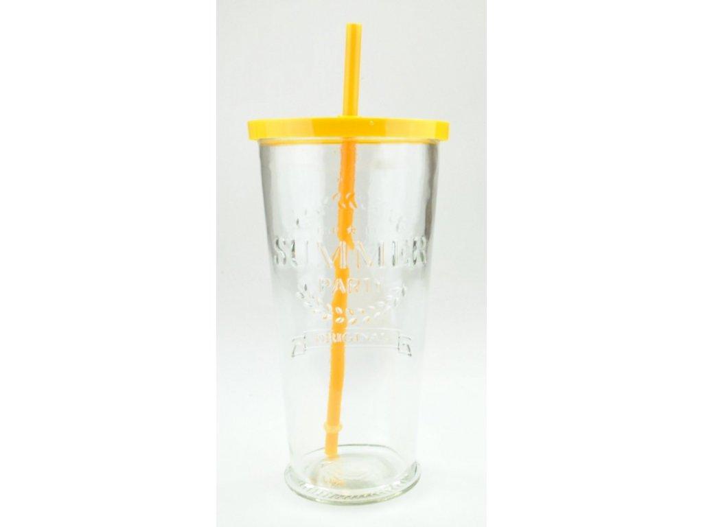 SUMMER FUN II sklenice 70 cl, oranžové víčko a brč