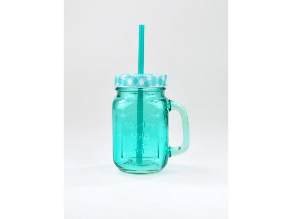 SUMMER FUN II sklenice 45 cl tyrkysová,kárované ví