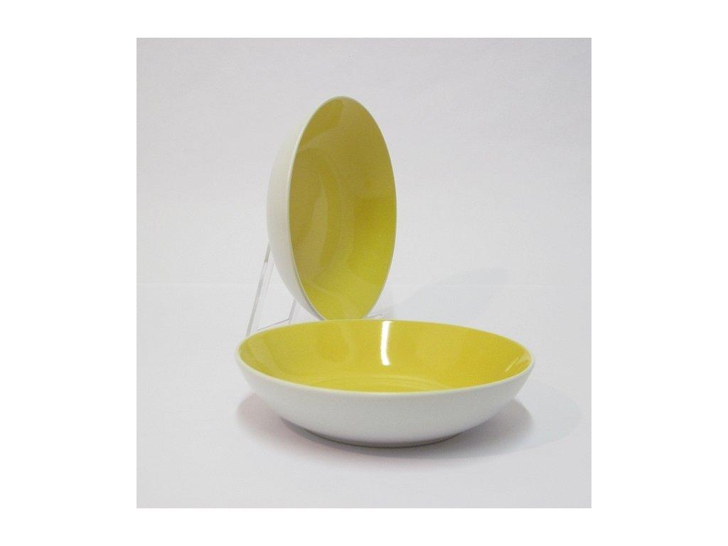 TWO TONE Talíř hluboký 20 cm žlutý
