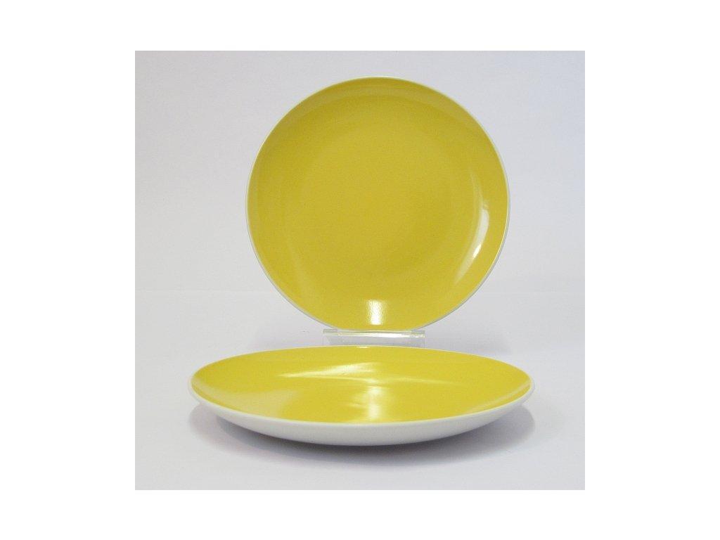 TWO TONE Talíř desertní 21 cm žlutý