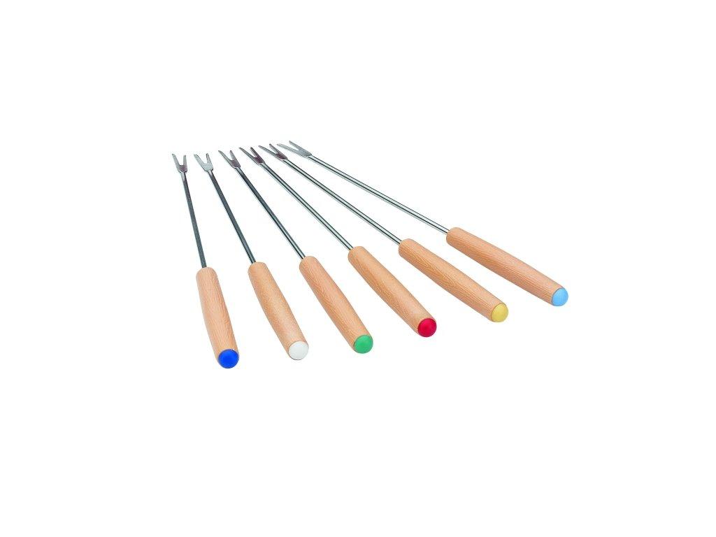 FONDUE vidličky s dřevěnou rukojetí