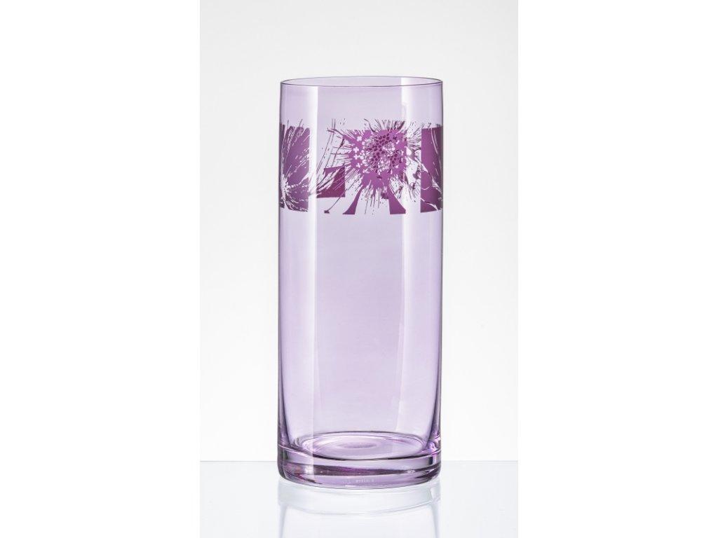 VASE transparent váza růžový pruh/film 25,5 cm
