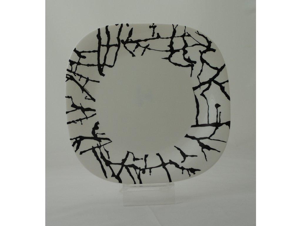 DRIPPING WHITE Talíř plochý 26 cm dekor