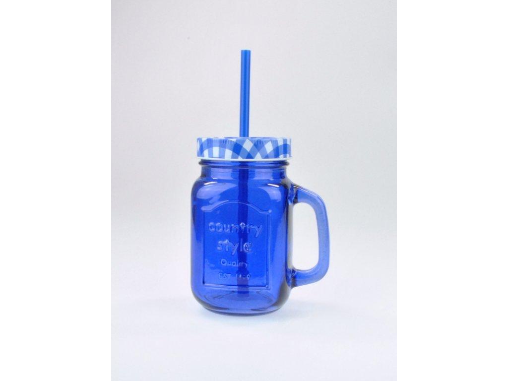 SUMMER FUN II sklenice 45 cl modrá, kárované víčko