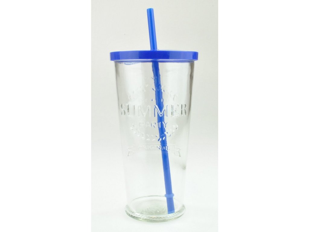 SUMMER FUN II sklenice 70 cl, modré víčko a brčko