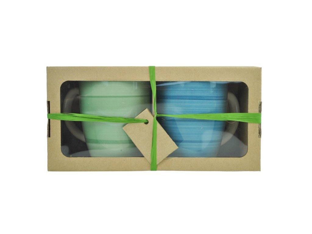 BEL TEMPO hrnky 38 cl (zelený/modrý)