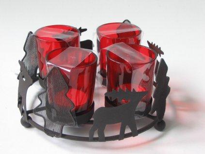 OSTATNÍ Stojan na 4 čajové svíčky kulatý 19 cm