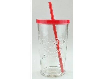 SUMMER FUN II sklenice 50 cl, červené víčko a brčk