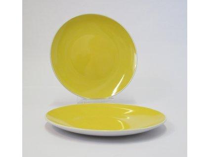 TWO TONE Talíř plochý 24 cm žlutý