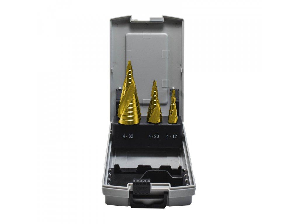 Sada 3dílů stupňovitých vrtáků, spirálová drážka HSS TiN 4-32mm