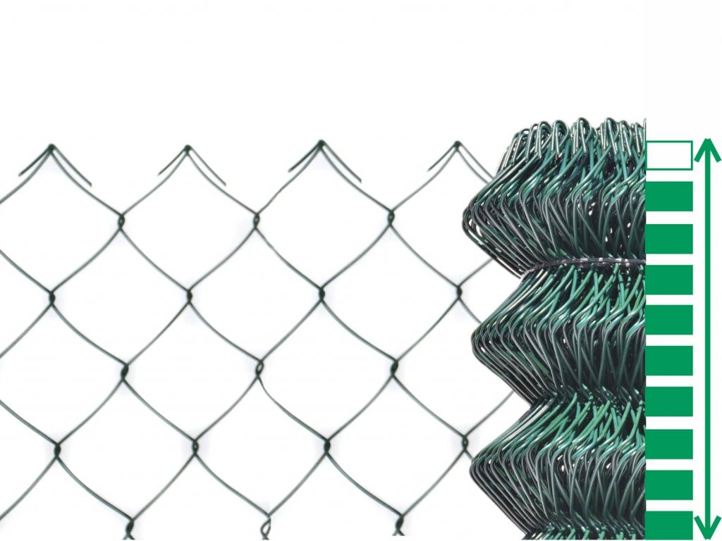 čtyřhranné pletivo zelené poplastované plotové bez zapleteného napínacího drátu