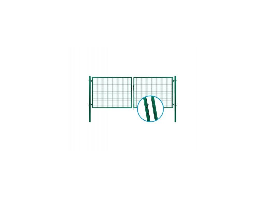 Brána dvoukřídlá svař.síť SOLID, výška 95x360cm OKO zelená