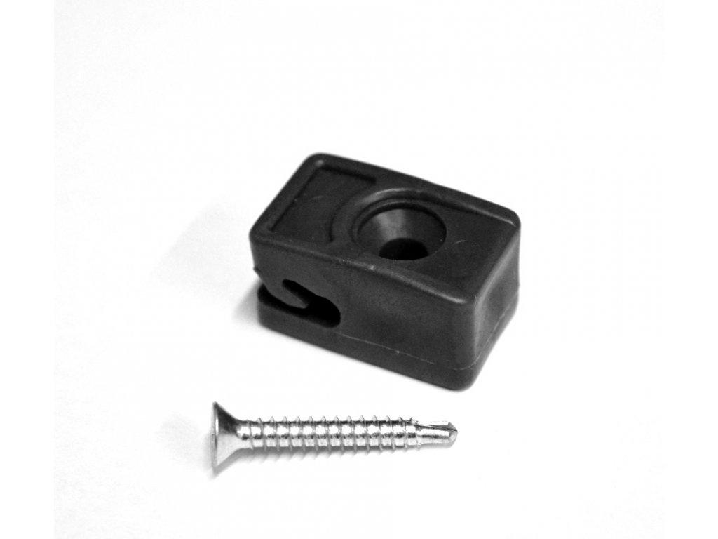 Příchytka z PVC na napínací drát - antracit, šroubovací+šroub