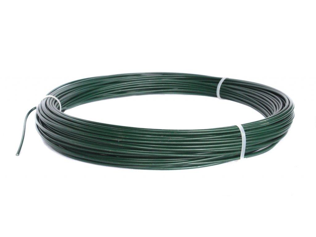 Napínací drát poplastovaný zelený (PVC) 2,2/3,2 mm, délka 16 m