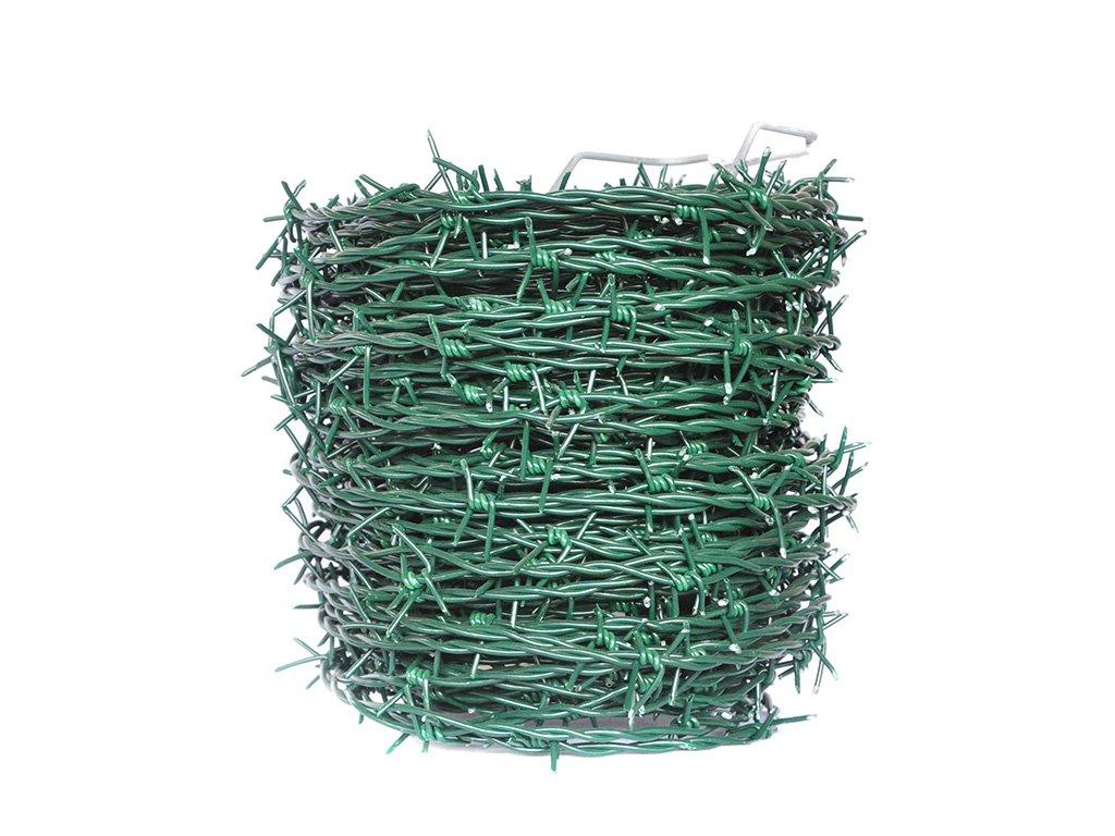 ostnatý drát PVC zelený 01