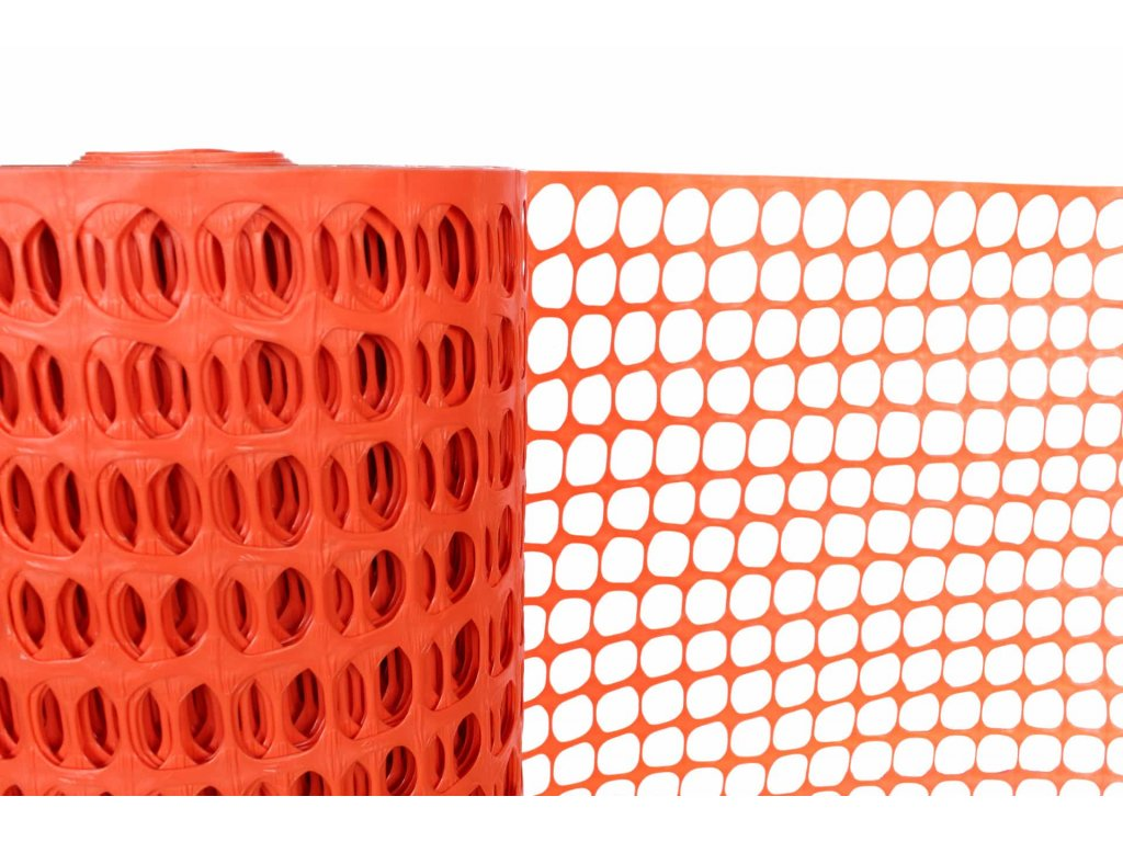 plastový plot, oranžový, detail 1