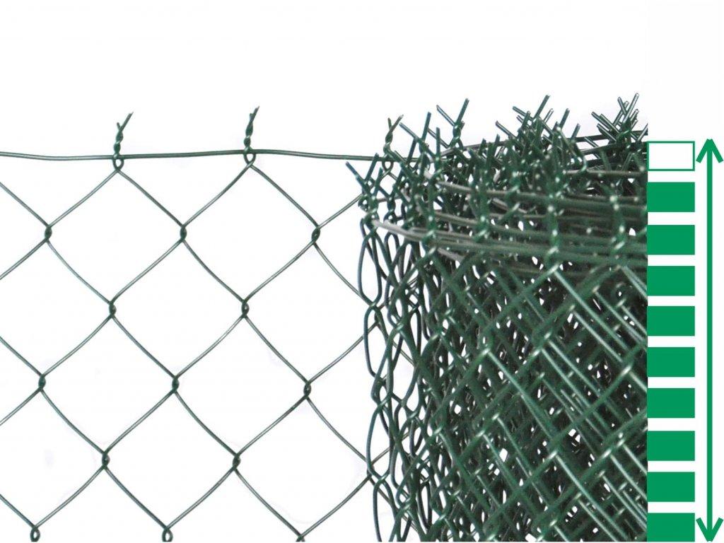 čtyřhranné pletivo zelené poplastované plotové se zapleteným napínacím drátem