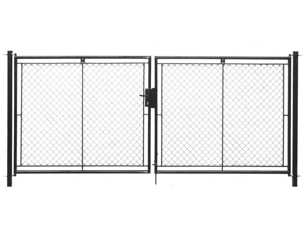 Brána zahradní dvoukřídlá pletivo, výška 125x360cm FAB antracit