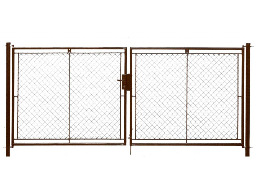 Brána zahradní dvoukřídlá pletivo, výška 200x360cm FAB hnědá