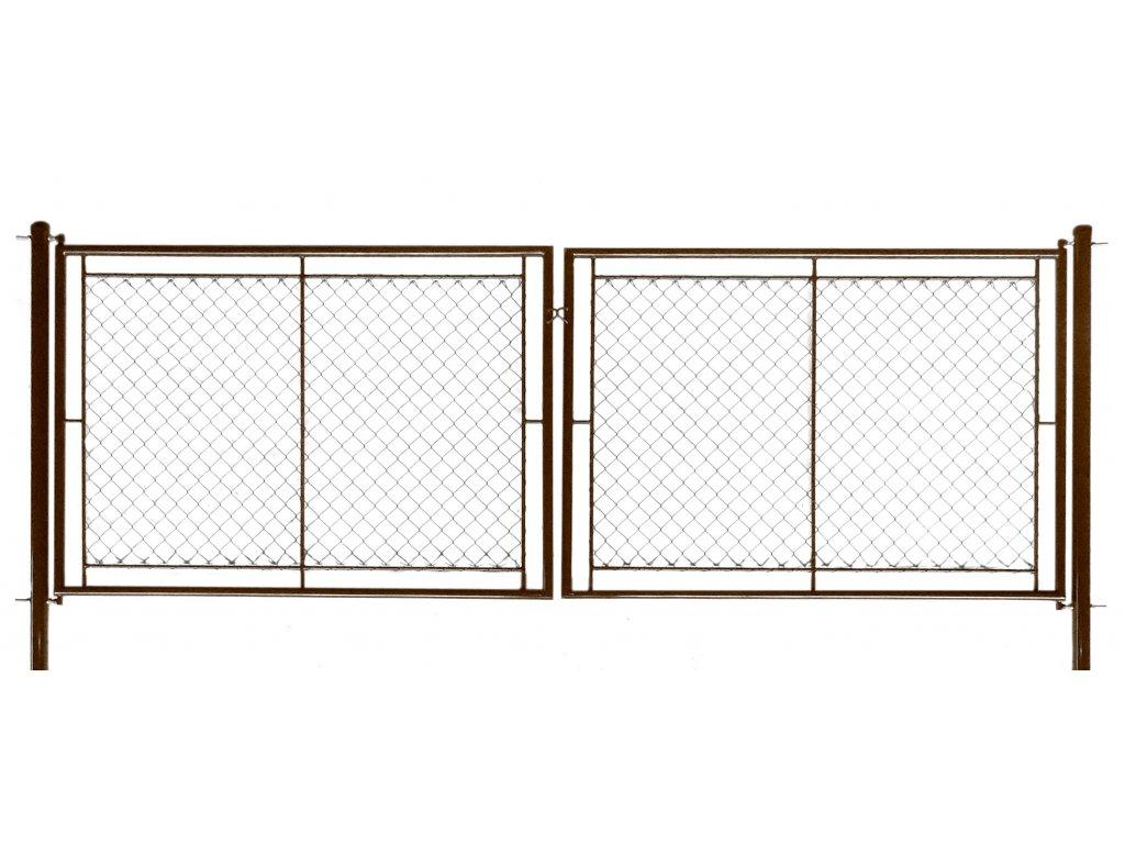 Brána zahradní dvoukřídlá pletivo, výška 200x360cm OKO hnědá