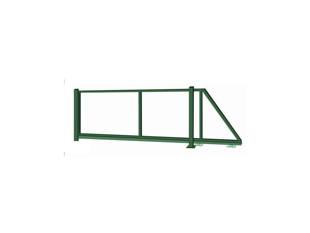 Samonosná posuvná brána - rám, výška 200x450 cm zelená
