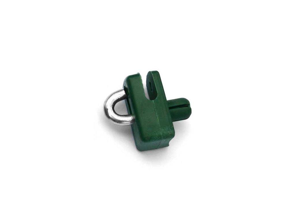 natloukací příchytka na napínací drát zelená
