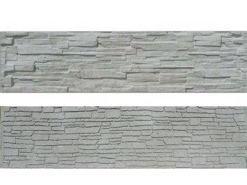 Betonová deska plotová 200x50 cm oboustranná, vzor štípaný a skládaný kámen