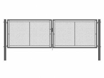 Brána zahradní dvoukřídlá antracit, výška 120 x 360 cm, OKO/FAB, s výplní klasického pletiva