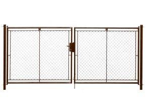 Brána zahradní dvoukřídlá pletivo, výška 180x360cm FAB hnědá