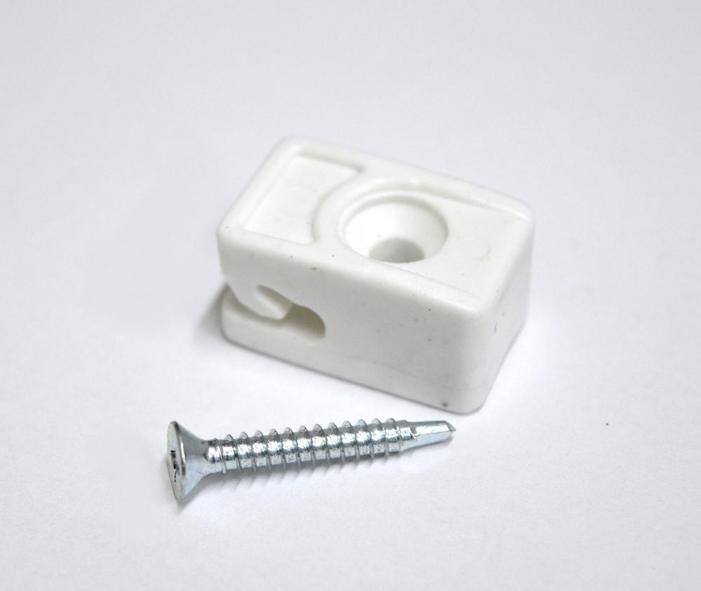 Příchytka z PVC na napínací drát - bílá, šroubovací+šroub
