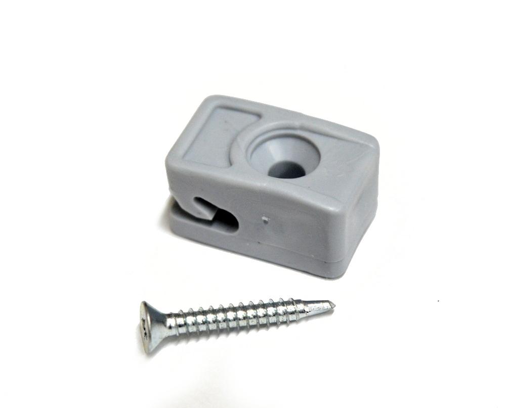 Příchytka z PVC na napínací drát - šedá, šroubovací+šroub