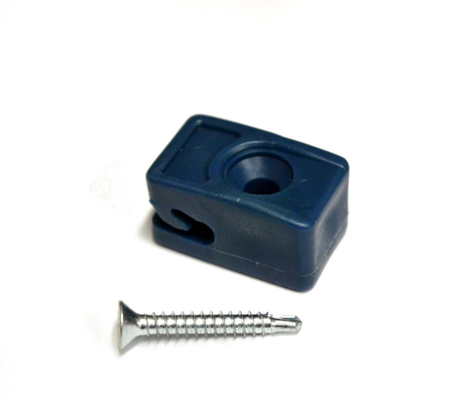 Příchytka z PVC na napínací drát - modrá, šroubovací+šroub
