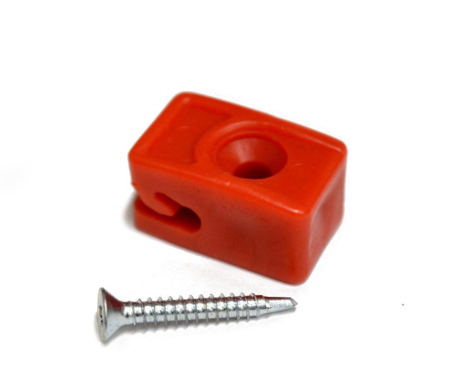 Příchytka z PVC na napínací drát - červená, šroubovací+šroub