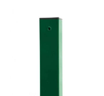 Plotový sloupek jeklový/hranatý - 60x60mm, výška 170 cm, síla stěny 1,5 mm, zelený