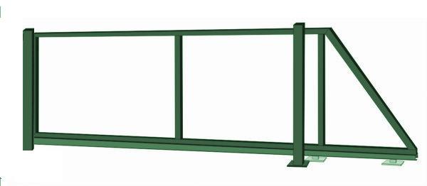 Samonosná posuvná brána - rám, výška 150x450 cm, zelená