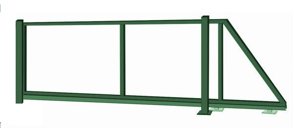 Samonosná posuvná brána - rám, výška 200x400 cm, zelená
