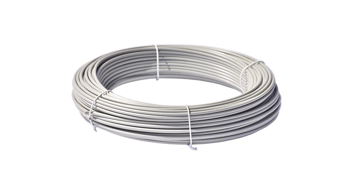 Napínací drát poplastovaný - drát 2,5/3,5 mm, délka 52 m, šedý