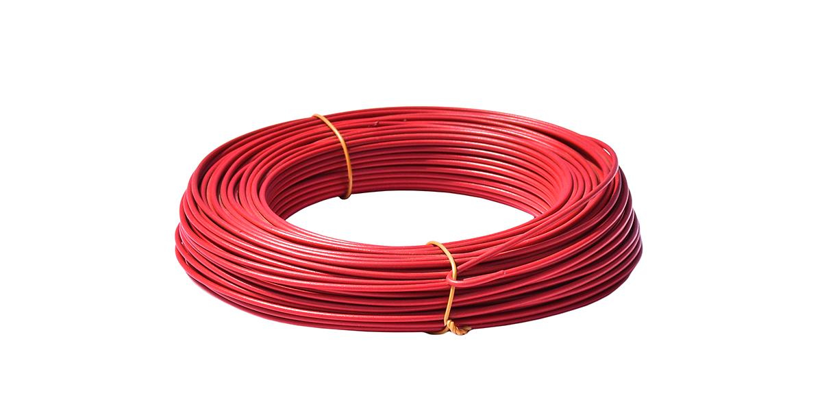 Napínací drát poplastovaný - drát 2,5/3,5 mm, délka 52 m, červený