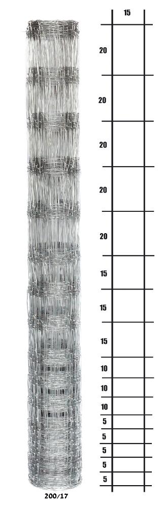 Uzlové lesnické pletivo výška 200 cm, 1,6/2,0 mm, 17 drátů