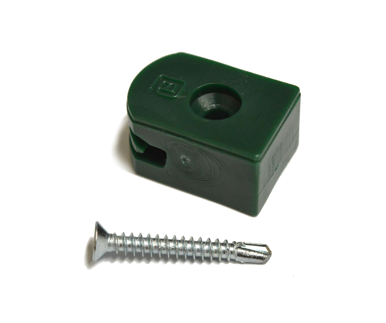 Příchytka z PVC na napínací drát - zelená, šroubovací+šroub
