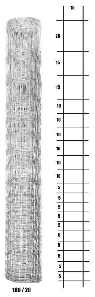 Lesnické pletivo uzlové - výška 160 cm, drát 2,0/2,8 mm, 20 drátů