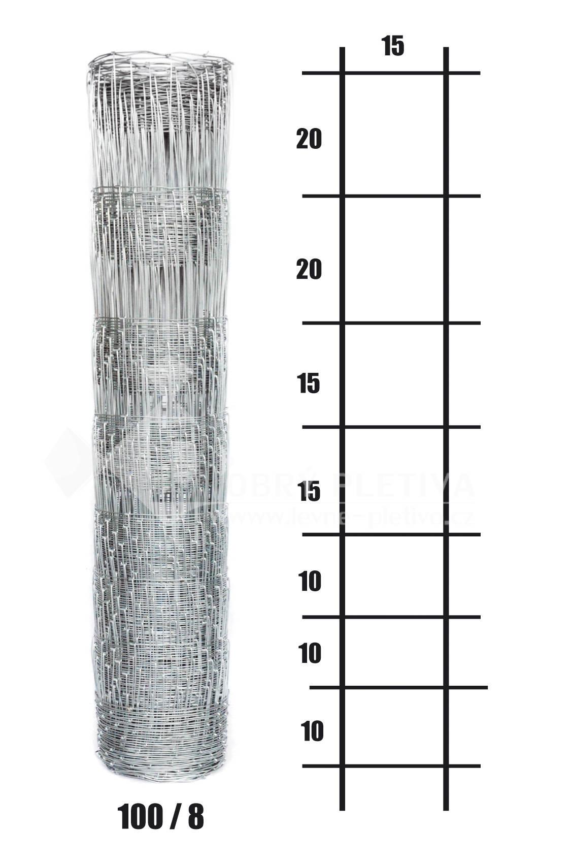 Uzlové lesnické pletivo výška 100 cm, 1,8/2,2 mm, 8 drátů