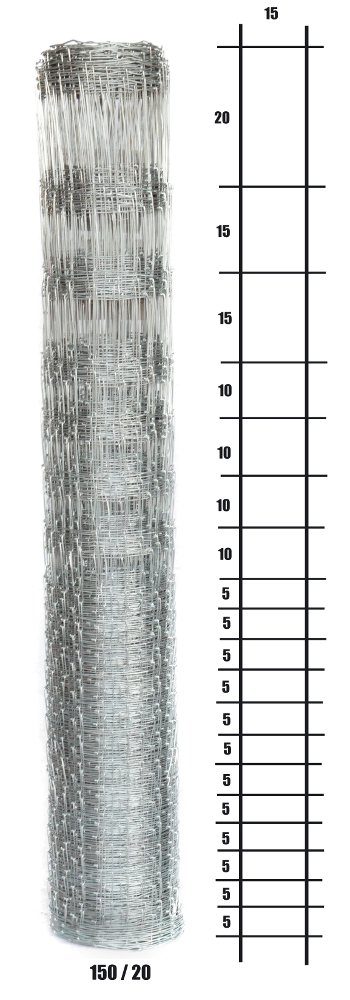 Uzlové lesnické pletivo výška 150 cm, 1,6/2,0 mm, 20 drátů