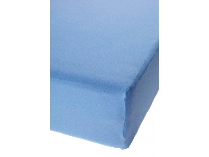 Jersey prostěradlo s elastanem Středně Modré